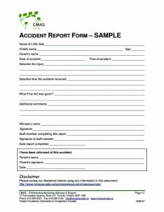 accident reporting template accident reporting form template