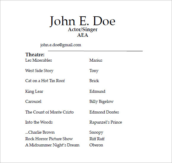 Acting Resume Examples | Template Business