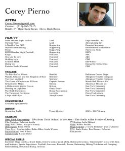 acting resume examples c pierno resume