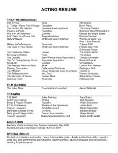 acting resume examples sample acting resume template beginners acting resume no experience