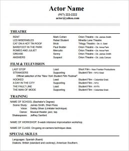 Acting Resume Template Acting Resume No Experience Template  How To Write An Acting Resume