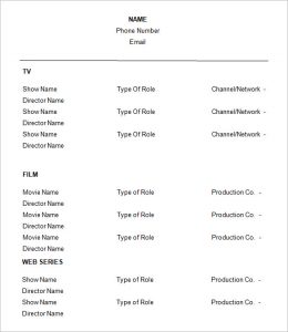 acting resume template free acting resume template