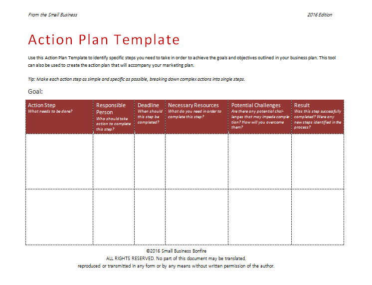 Action Plan Template Template Business - Easy small business plan template