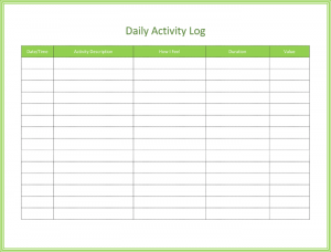 activity log template daily activity log template for word