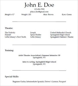 actors resume template acting resume template for free