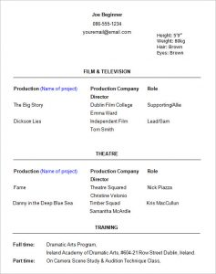 actors resume template beginner acting resume template
