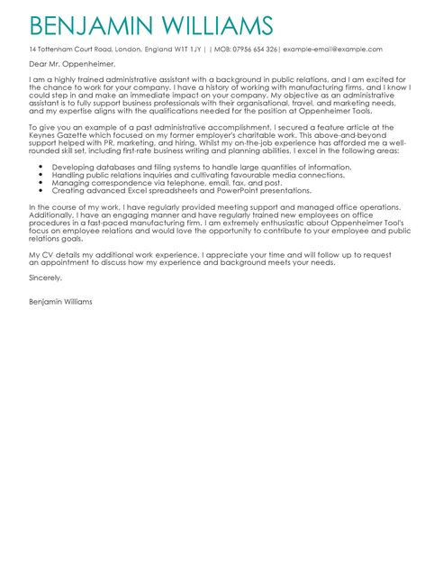 admin assistant cover letter - Accounts Administrator Cover Letter