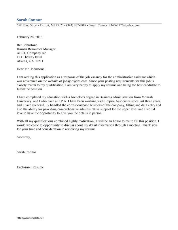 admin assistant cover letter - Administrative Cover Letter