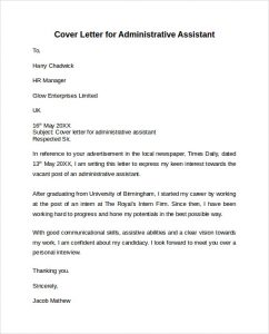 admin assistant cover letter simple administrative assistant cover letter