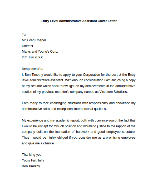 administrative assistant cover letter entry level