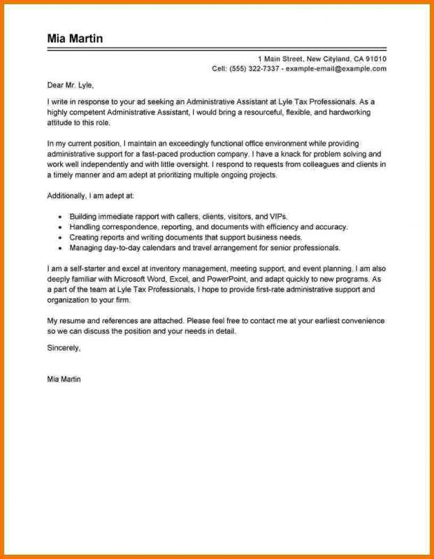 Best Cover Letter For An Administrative Assistant Position