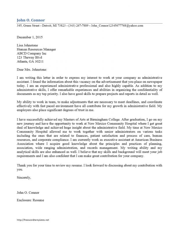 Executive Istant Cover Letter | Administrative Assistant Cover Letter Template Business