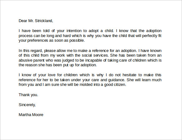 adoption reference letter