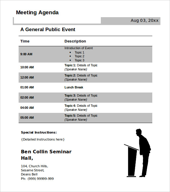 Agenda Template Free  Meeting Agenda Formats