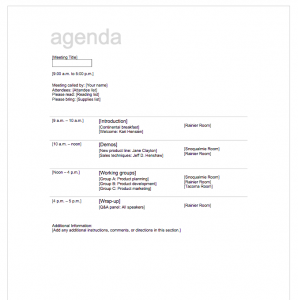 agenda template free screen shot at am
