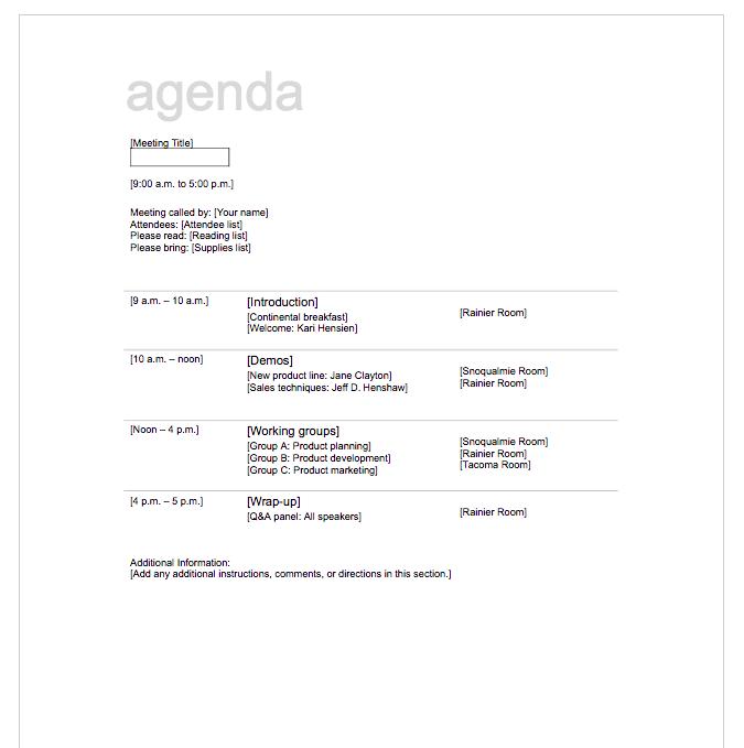 agenda template free