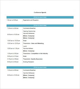 agenda template word conference agenda template word