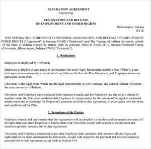 agreement letter between two parties employment separation agreement template