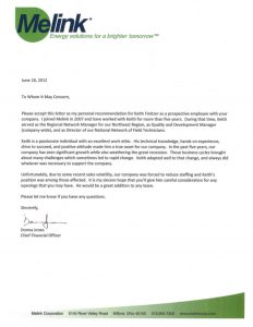 agreement letter sample keith a finitzer letter of recommendation from donna jones chief financial officer