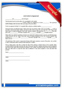 agreement letter sample printable joint author's agreement form
