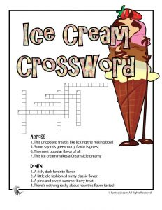 animal alphabet letters ice cream crossword game