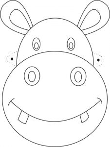 animal masks template mascara de hipopotamo