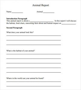 animal report template animal report template example