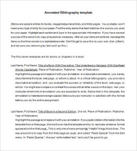 annotated bibliography template free annotated bibliography template