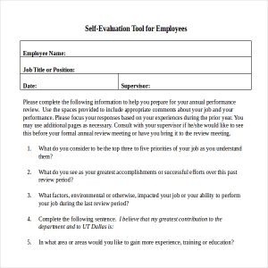 annual performance review employee self evaluation examples annual performance appraisal self evaluation tool for employee