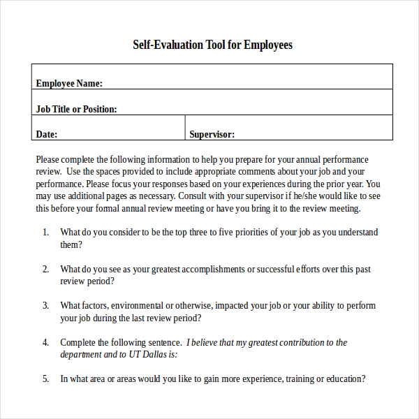 Annual performance review employee self evaluation for Yearly employee review template