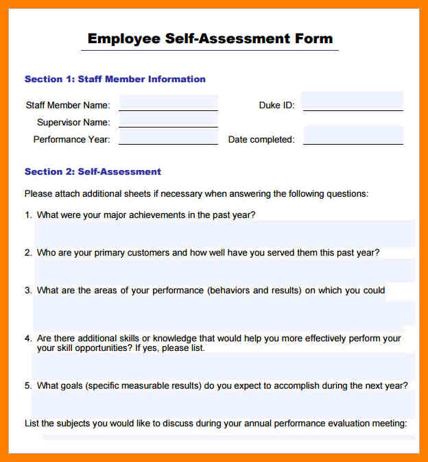 staff performance evaluation form
