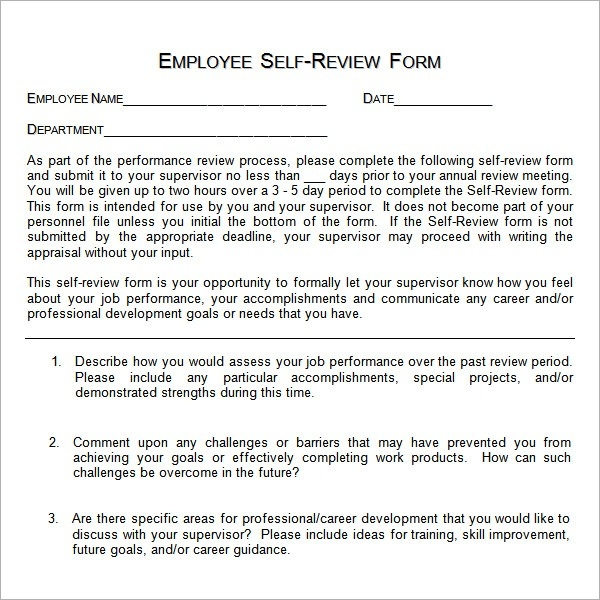 self assessment templates employees - annual performance review employee self evaluation