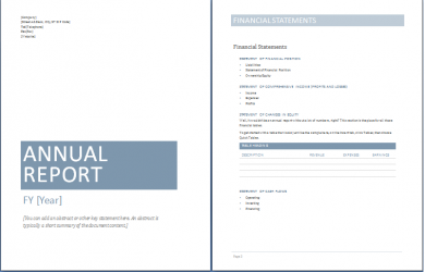 annual report template sample annual report templates
