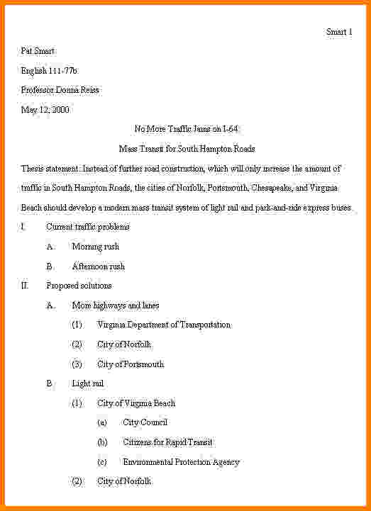 Apa Outline Template | Template Business