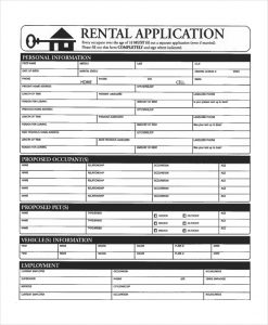 apartment application form apartment application form