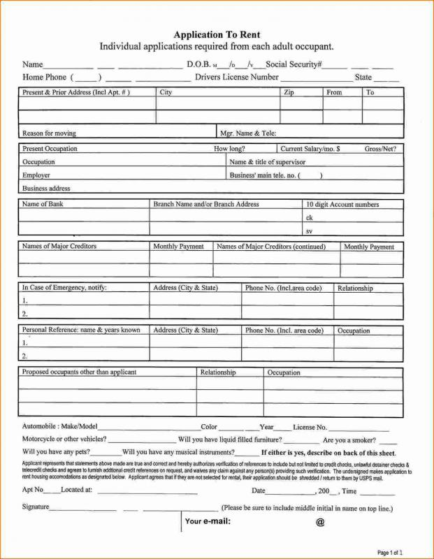 Apartment Application Form  Template Business