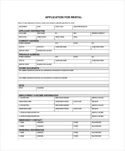 apartment application form apartment tenant application form
