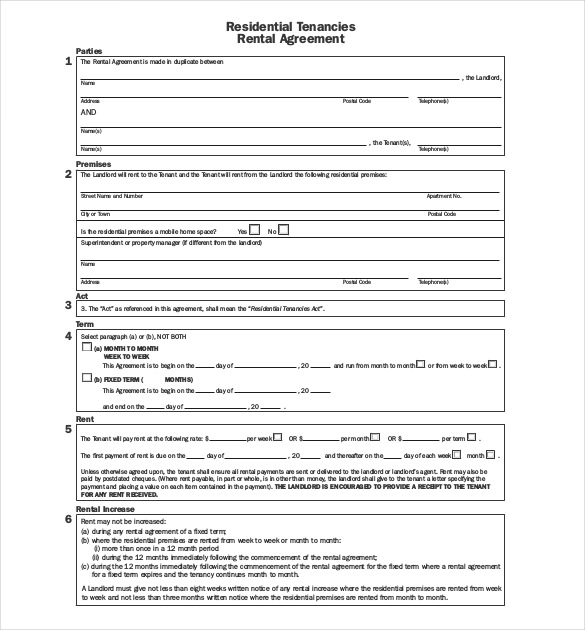 Apartment lease agreement template business for Boarder agreement template