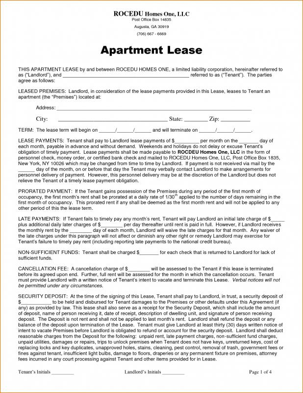 Apartment Lease Agreement  Template Business