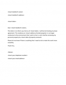 apartment lease termination letter termination letter x