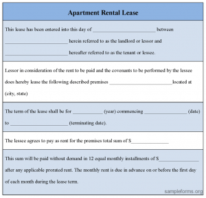 apartment rental agreement apartment rental lease form