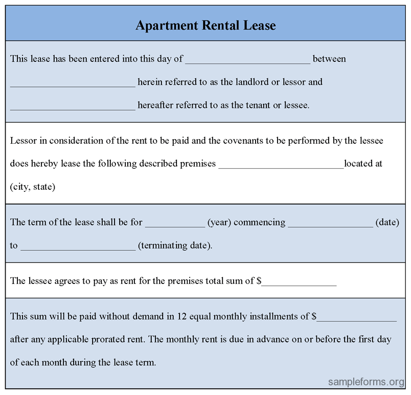Apartment Rental Agreement Template Business