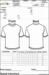 apparel order form template blank clothing order form template