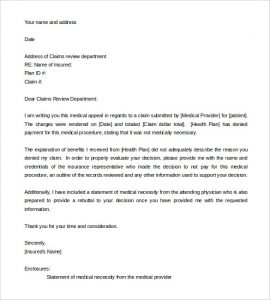 appeal letter format appeal letter template for medical necessity word format