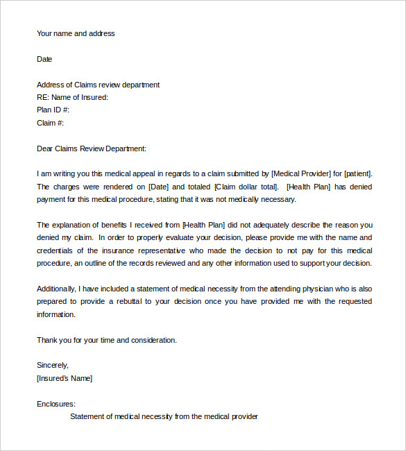 Appeal Letter Format  Medical Letter Template