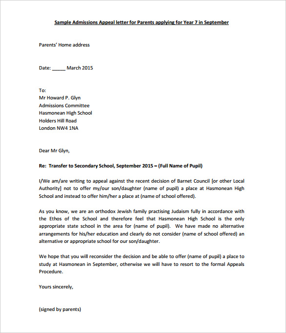 Appeal letter sample template business for Grievance appeal letter template