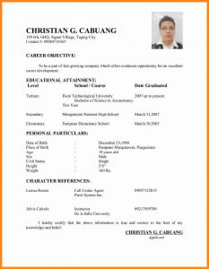applicant letter example applicant resume sample filipino simple