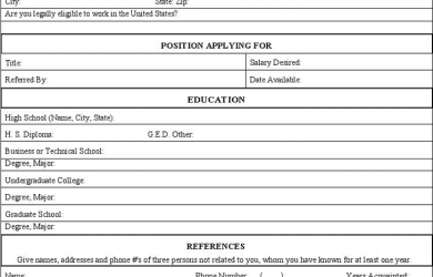 application for employment form generic application for employment