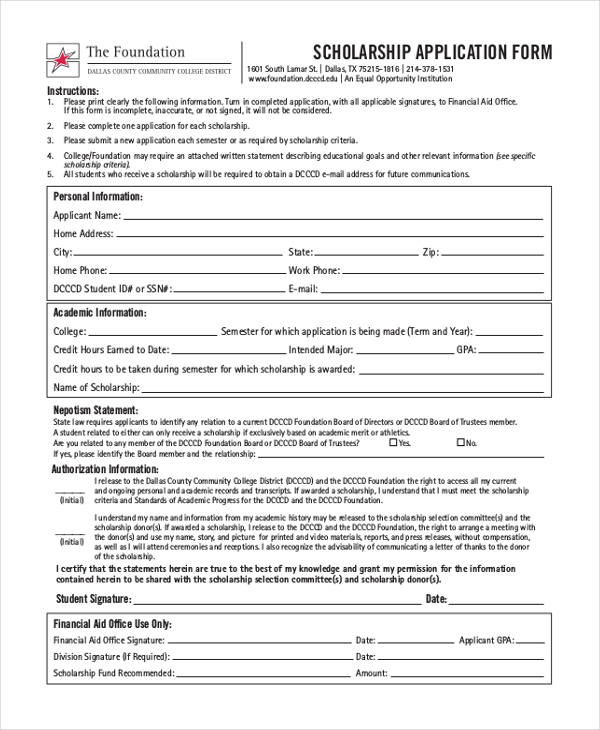 application for scholarship sample