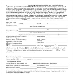 application for scholarship sample example scholarship application form download